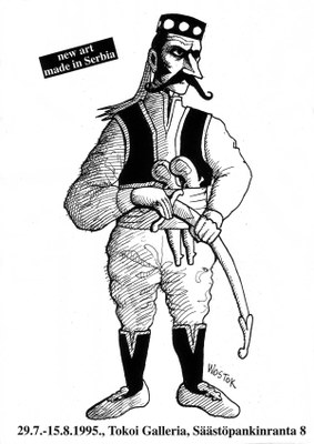 """Najavni poster za izložbu """"Drugačiji pogled"""" sa ilustracijom Danila Miloševa Wostoka"""