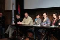 Konferencija za štampu povodom 19. međunarodne smotre arheološkog filma u Jugoslovenskoj kinoteci - snimio Časlav Petrović